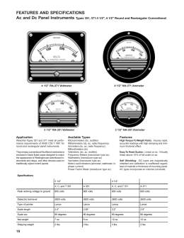 FEATURES AND SPECIFICATIONS Ac and Dc Panel Instruments