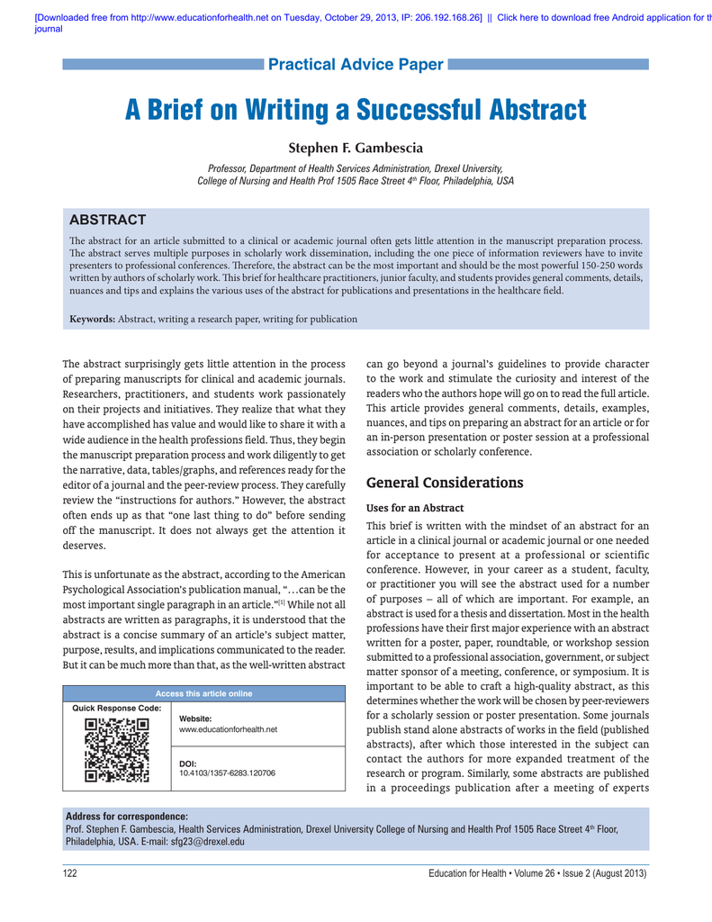 how to write a scientific abstract for a conference