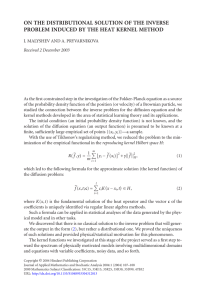 ON THE DISTRIBUTIONAL SOLUTION OF THE INVERSE