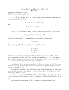 Physics 225B, General Relativity. Winter 2015 Homework 1 Instructor: Benjamin Grinstein