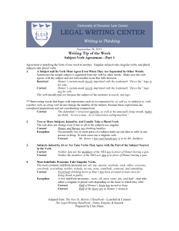 Writing Tip of the Week Subject-Verb Agreement—Part 1  September 28, 2015