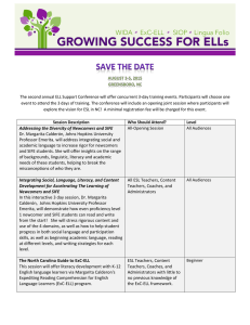 The second annual ELL Support Conference will offer concurrent 3-day...