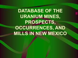 DATABASE OF THE URANIUM MINES, PROSPECTS, OCCURRENCES, AND