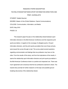 RESEARCH PAPER DESCRIPTION THE RELATIONSHIP BETWEEN SPORT INFORMATION DIRECTORS AND PRINT JOURNALISTS