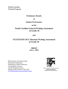 North Carolina General Writing Assessment at Grade 10  NCEXTEND2