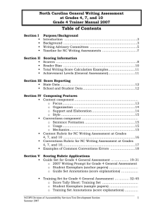 Table of Contents North Carolina General Writing Assessment