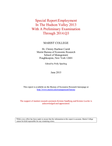 Special Report:Employment In The Hudson Valley 2013 With A Preliminary Examination Through 2014.Q3
