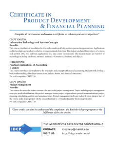 Certificate in Product Development & Financial Planning CMPT 130L758