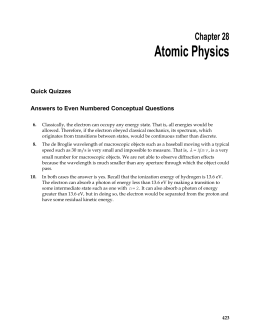 Atomic Physics  Chapter 28 Quick Quizzes