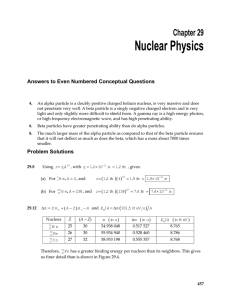 Nuclear Physics  Chapter 29 Answers to Even Numbered Conceptual Questions