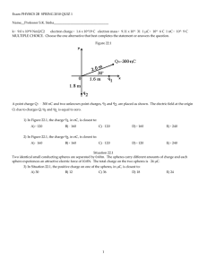 Exam PHYSICS 2B  SPRING 2010 QUIZ 1 Name__Professor S.K. Sinha_________________________________