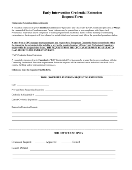 Early Intervention Credential Extension Request Form