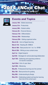 # Events and Topics ALL EVENTS START AT 8PM EDT