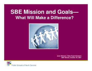 SBE Mission and Goals— What Will Make a Difference?