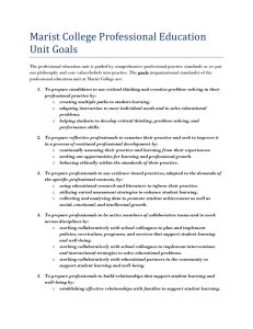 Marist College Professional Education Unit Goals