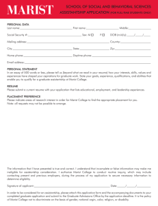 MARIST SCHOOL OF SOCIAL AND BEHAVIORAL SCIENCES ASSISTANTSHIP APPLICATION