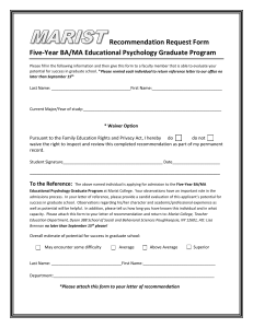 Recommendation Request Form Five-Year BA/MA Educational Psychology Graduate Program