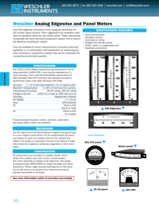 Weschler Analog Edgewise and Panel Meters MODIFICATIONS AVAILABLE