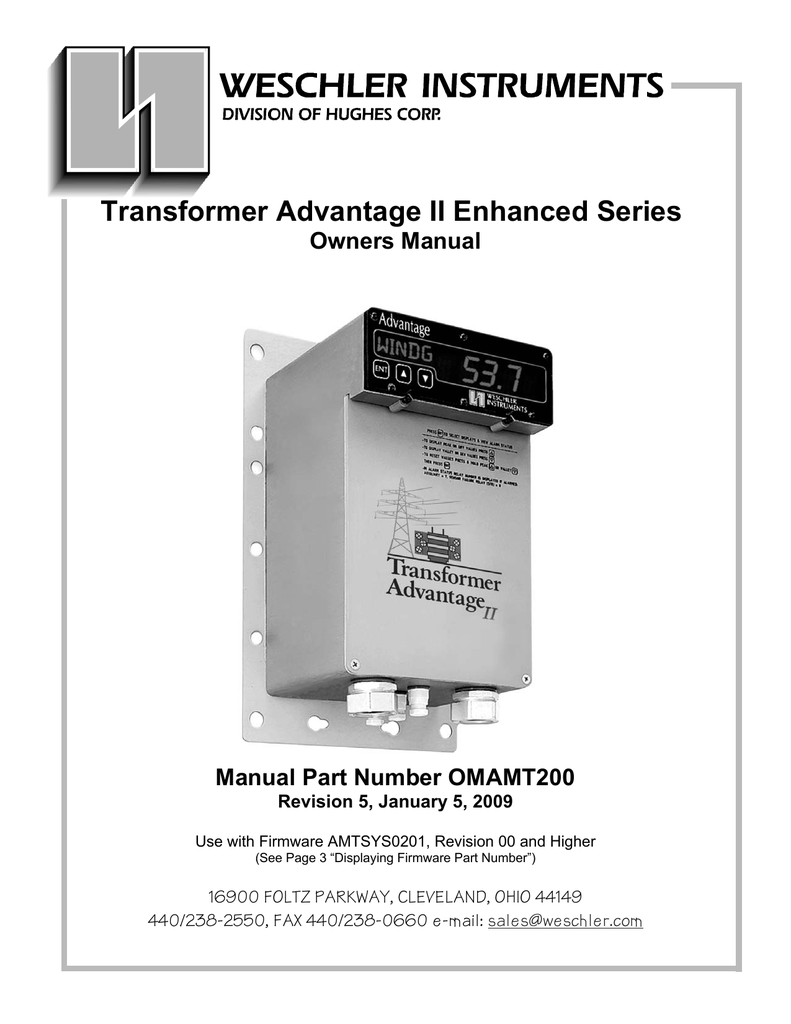 Transformer Advantage Ii Enhanced Series Owners Manual