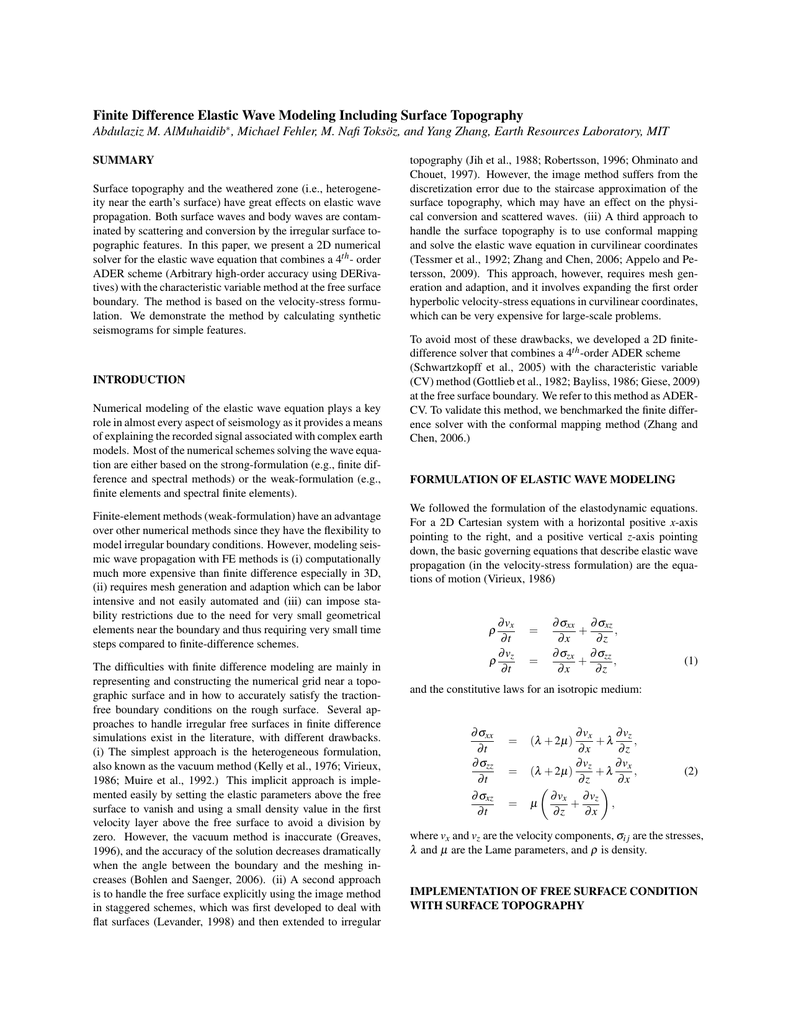 Finite Difference Elastic Wave Modeling Including Surface Topography