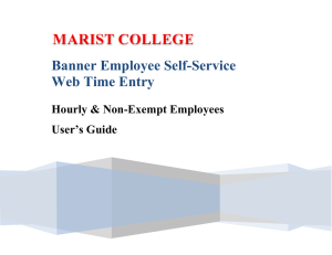 Banner Employee Self-Service Web Time Entry Hourly & Non-Exempt Employees