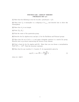 PHYSICS 220 : GROUP THEORY PROBLEM SET #1