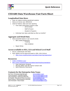CEDARS Data Warehouse Fast Facts  Sheet Quick Reference