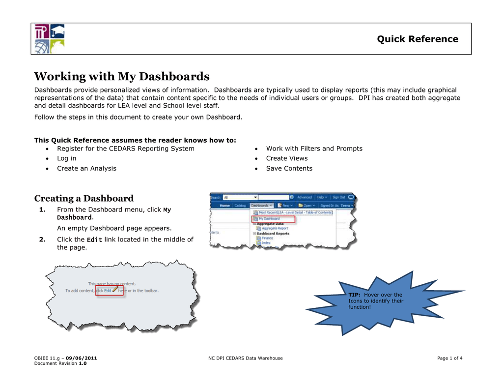 Working with My Dashboards Quick Reference