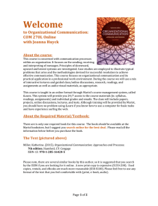 Welcome  to Organizational Communication: COM 270L Online