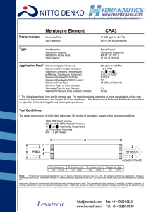 Membrane Element CPA3 Performance: