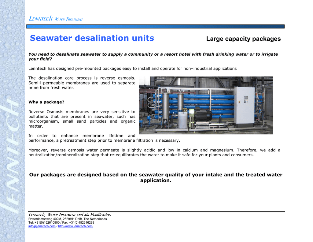 Seawater desalination units capacity packages