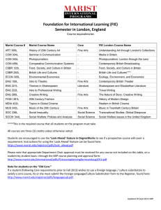 Foundation for International Learning (FIE) Semester in London, England Course equivalencies