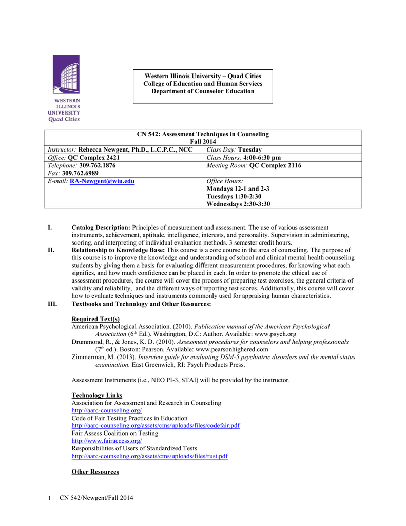 Western Illinois University – Quad Cities Department of Counselor Education