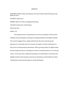 ABSTRACT  RESEARCH PAPER: Citizen Participation: The new Frontier Public Hearings, Social