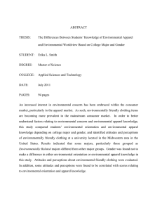 ABSTRACT  The Differences Between Students' Knowledge of Environmental Apparel THESIS: