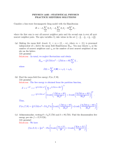 PHYSICS 140B : STATISTICAL PHYSICS PRACTICE MIDTERM SOLUTIONS