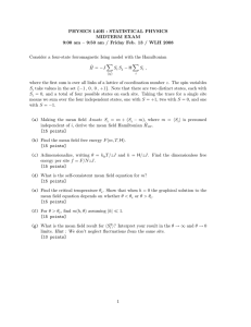 PHYSICS 140B : STATISTICAL PHYSICS MIDTERM EXAM