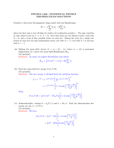 PHYSICS 140B : STATISTICAL PHYSICS MIDTERM EXAM SOLUTIONS