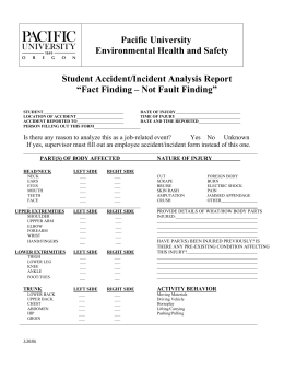 Pacific University Environmental Health and Safety Student Accident/Incident Analysis Report