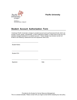 Student  Account  Authorization  Form Pacific University