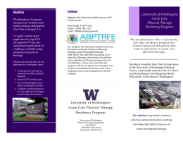 University of Washington Acute Care Physical Therapy Residency Program