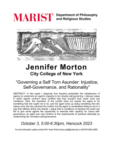 Jennifer Morton City College of New York Self-Governance, and Rationality""