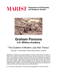 "Graham Parsons U.S. Military Academy  ""The Dualism of Modern Just War Theory"""