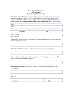 University of Northern Iowa M.A. in Spanish Research Topic Approval Form