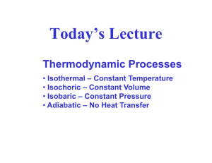 Today's Lecture Thermodynamic Processes