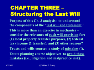 CHAPTER THREE – Structuring the Last Will