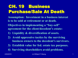 CH. 19   Business Purchase/Sale At Death