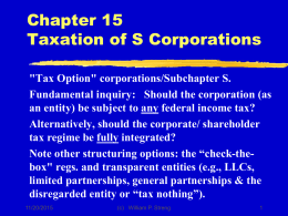Chapter 15 Taxation of S Corporations
