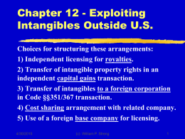 Chapter 12 - Exploiting Intangibles Outside U.S.