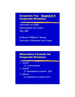 Corporate Tax   Segment 9 Corporate Divisions